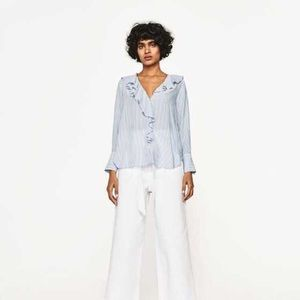 Zara ruffled white and sky blue blouse